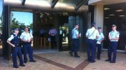 There was a large police presence at Southport Court for the appearance of a man accused of shooting a bikie.